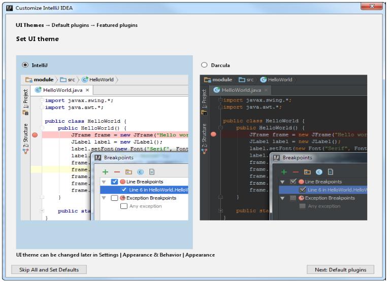 IntelliJ IDEA安装 选择用户界面主题